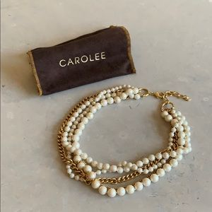 Carolee 5 row Pearl and Gold Chain necklace